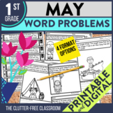 1st Grade May Word Problems printable and digital math activities