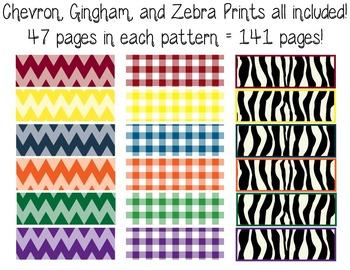 1st Gr. Common Core Tracking Sheets Math & ELA Bundle-Chevron, Gingham, & Zebra
