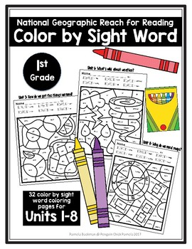 1st Gr. National Geographic * Reach for Reading * COLOR BY SIGHT WORD