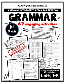 1st Gr. REACH FOR READING GRAMMAR w/Day-to-Day Scope & Sequence & 67 Activities