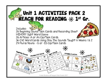 1st Gr REACH for READING ACTIVITY PACK #2  Task / Clip Cards, Board Games & More