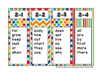 1st Gr REACH for READING SIGHT WORD BOOKMARKS for Home or School