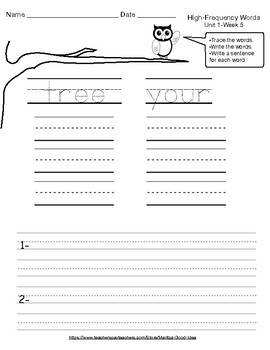 1st Gr. Reading Street High-Frequency Words Practice Sheets