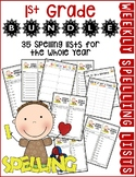 1st Gr Weekly Spelling Lists Bundle for the Whole Year (Li