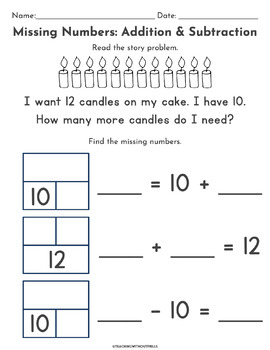 1st Grade {1.OA.B.4} Differentiated Missing Addend Activity- Part Part Whole
