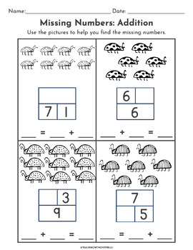  1st Grade  Differentiated Missing Addend Part Part Whole Activities 1.OA.D.8