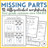 1st Grade {1.OA.B.4} Differentiated Missing Addend Activit