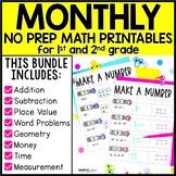 1st Grade & 2nd Grade Math No Prep Bundle for Distance Learning