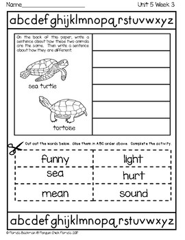 1st Grade ABC ORDER CUT and PASTE aligned with REACH FOR READING HFW's & Themes
