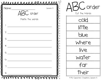 ABC Order Cut & Paste  (Journey's First Grade Sight Words)
