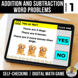 1st Grade Add and Subtract Word Problems Digital Math Game