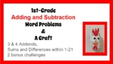 1st Grade Adding & Subtraction Word Problems & Craft