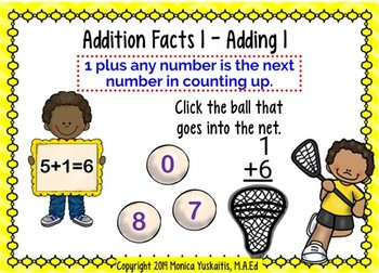 1st Grade Addition Facts 1 - Zero Pattern & Counting on 1, 2, & 3 Boom Cards