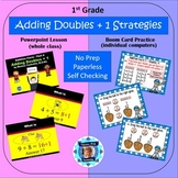 1st Grade Addition Facts 4 - Adding Doubles + 1 (Powerpoint Lesson & Boom Cards)