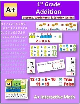 1st Grade Addition Lessons, Worksheets, Solution Manuals