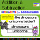 1st Grade Addition & Subtraction Action Google Interactive