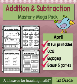 "1st Grade Addition & Subtraction ""Mastery Pack"" for April"