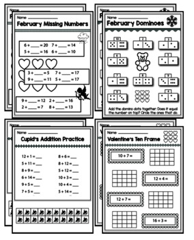 """1st Grade Addition & Subtraction """"Mastery Pack"""" for February"""