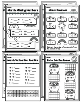 "1st Grade Addition & Subtraction ""Mastery Pack"" for March"