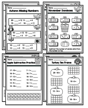 """1st Grade Addition & Subtraction """"Mastery Pack"""" for November"""
