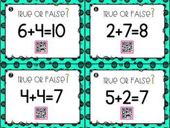 True or False Equations QR Task Cards