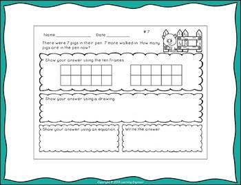 1st Grade Math Center (Addition Word Problems)