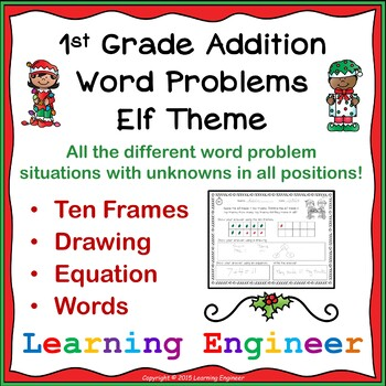 1st Grade Addition Word Problems: Elf Theme