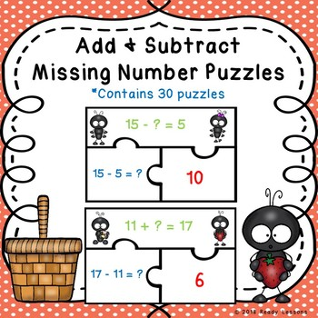 1st Grade Addition and Subtraction Missing Addends Game Puzzles 1.OA.8
