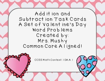 1st Grade Addition/Subtracton Valentine's Day Word Problems