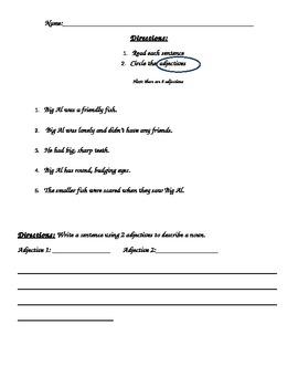 1st Grade Adjective and Noun Test