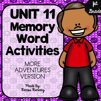 1st Grade More Adventures of the Superkids Memory Word Activities {Unit 11}