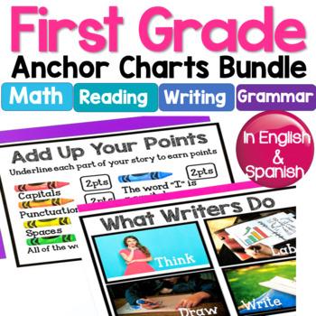 1st Grade Anchor Charts in English & Spanish: Math/Writing/Grammar/Language Arts