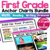 1st Grade Anchor Charts in English & Spanish: Math/Writing