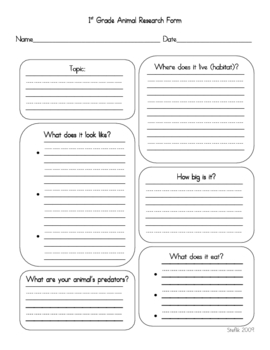 1st Grade Animal Research Form