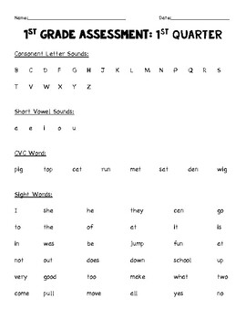 1st Grade Assessment