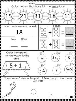 1st Grade August Math Journal