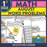 1st Grade August Word Problems printable and digital math