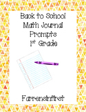 1st Grade Back to School Math Journal Prompts