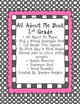 1st Grade Back to School Pack