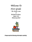 1st Grade Back to School Packet Syllabus