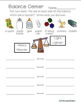 1st Grade Balance Activity