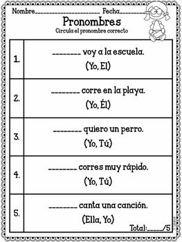 1st Grade Beginning of the Year Language Arts Assessments in Spanish