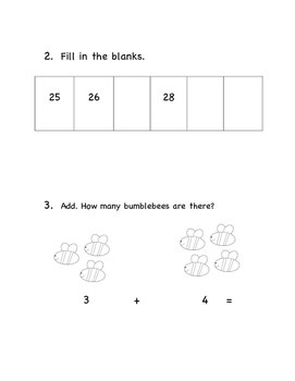 1st Grade Beginning of the Year Math Pre- Assessment Pre- Test