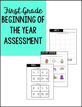 1st Grade Beginning of the Year Pre-Assessment