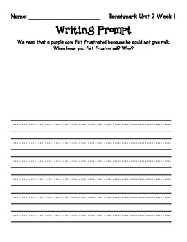 1st Grade Benchmark Literacy Writing Prompts