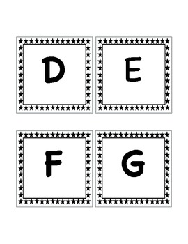 Word Wall Set: 1st Grade Black and White Stars
