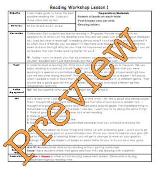 1st Grade Building Good Reading Habits Reading Workshop Lesson Plan Bundle