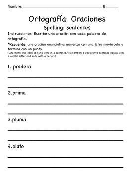 1st Grade CA Tesoros Unit 3 Spelling Bundle in Spanish