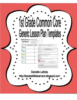 1st Grade CC Generic Lesson Plans with I Can Statements