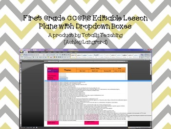 1st Grade CCGPS Editable Lesson Plans with Dropdown Boxes